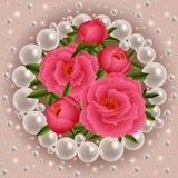 Decoración de las flores y de las perlas de la peonía Fotografía de archivo libre de regalías