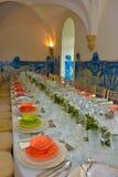 Decoración de las tablas de banquete, evento del partido de cena Fotografía de archivo