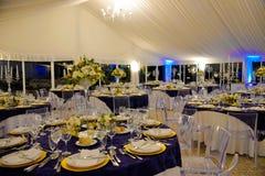 Decoración de las tablas de banquete de la boda, partido de cena, evento Foto de archivo