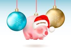 Decoración de las vacaciones de invierno Sistema de la Navidad realista azul y chucherías de oro y Santa Claus linda guarras en c libre illustration