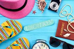 Decoración de los accesorios de la playa de las mujeres Imágenes de archivo libres de regalías