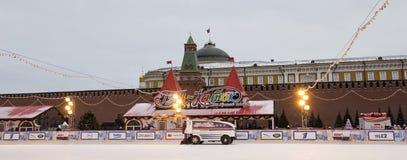 Decoración de los días de fiesta del Año Nuevo de la Navidad, Plaza Roja en Moscú, Rusia Fotografía de archivo libre de regalías