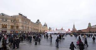 Decoración de los días de fiesta del Año Nuevo de la Navidad, Plaza Roja en Moscú, Rusia Imagenes de archivo