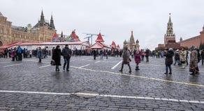 Decoración de los días de fiesta del Año Nuevo de la Navidad, Plaza Roja en Moscú, Rusia Fotos de archivo