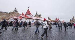 Decoración de los días de fiesta del Año Nuevo de la Navidad, Plaza Roja en Moscú, Rusia Imagen de archivo