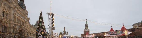 Decoración de los días de fiesta del Año Nuevo de la Navidad, Plaza Roja en Moscú, Rusia Foto de archivo libre de regalías