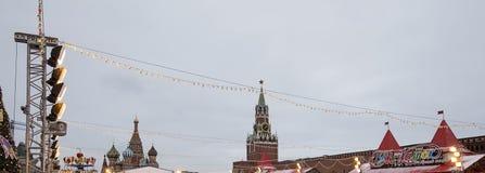 Decoración de los días de fiesta del Año Nuevo de la Navidad, Plaza Roja en Moscú, Rusia Fotografía de archivo