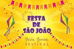 Decoración de los fuegos artificiales del festival de Festa Junina del carnaval Foto de archivo