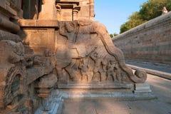 Decoración de los jinetes del yeli, capilla de la barandilla de Deivanayaki Amman, adyacente al templo de Airavatesvara, Darasura Imagenes de archivo