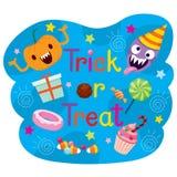 Decoración de los textos del truco o de la invitación con la calabaza y los caramelos Fotos de archivo