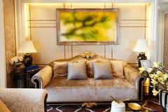 Decoración de lujo de la sala de estar foto de archivo