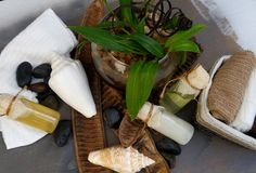 Decoración de lujo de los accesorios de la salud de la belleza del balneario del baño del cuerpo Fotos de archivo libres de regalías