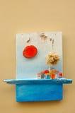 Decoración de madera mediterránea de la pared Imágenes de archivo libres de regalías