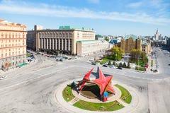 Decoración de mayo en el cuadrado de Lubyanskaya en Moscú Fotos de archivo