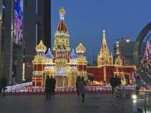 Decoración de Moscú el Kremlin por Año Nuevo de la Navidad Rusia Fotografía de archivo