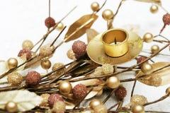 Decoración de oro de la Navidad Foto de archivo