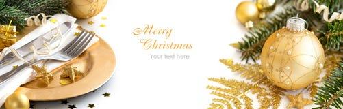 Decoración de oro de la Navidad Fotos de archivo libres de regalías