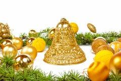 Decoración de oro de la Navidad Imagen de archivo libre de regalías