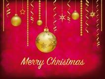 Decoración de oro de la Navidad en fondo borroso rojo ilustración del vector