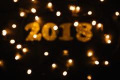 Decoración de oro del Año Nuevo 2018 Imagen de archivo
