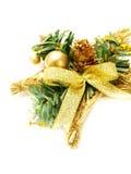 Decoración de oro del mimbre de la Navidad Imagen de archivo