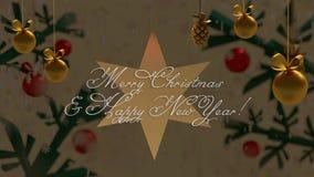 Decoración de oro de la Navidad y una estrella detrás del fondo con las ramas ilustración del vector