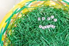 Decoración de Pascua con las letras de los dados Fotografía de archivo libre de regalías