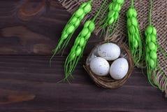 Decoración de Pascua con los huevos de Pascua en las espiguillas del verde del paño de la arpillera de la jerarquía Imagenes de archivo