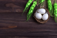 Decoración de Pascua con los huevos de Pascua en las espiguillas del verde del paño de la arpillera de la jerarquía Imágenes de archivo libres de regalías