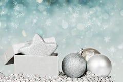 Decoración de plata de la Navidad Fotografía de archivo