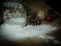 Decoración decorativa volumétrica de la Navidad de la composición en fondo ligero Imagen de archivo libre de regalías