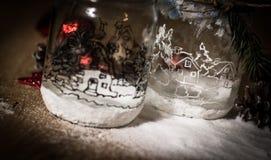 Decoración decorativa volumétrica de la Navidad de la composición en fondo ligero Imagen de archivo