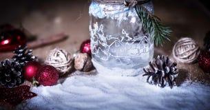Decoración decorativa volumétrica de la Navidad de la composición en fondo ligero Fotos de archivo libres de regalías