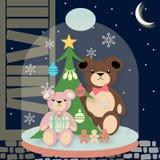 Decoración del árbol de navidad con los mini osos en una campana de cristal Imagen de archivo libre de regalías