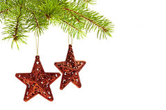 Decoración del árbol de navidad - estrellas del rojo Imagenes de archivo
