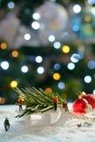 Decoración del árbol de navidad y del trineo Fotografía de archivo libre de regalías