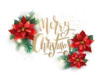 Decoración del árbol de navidad y de la flor aislada stock de ilustración