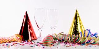 Decoración del Año Nuevo con el vino espumoso Imagen de archivo
