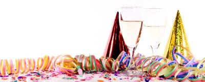 Decoración del Año Nuevo con el vino espumoso Fotos de archivo