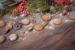 Decoración del Año Nuevo con las ramas del pino, galletas de harina de avena, Gingerb Fotos de archivo