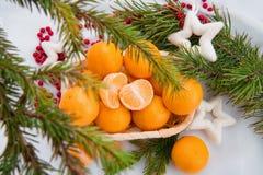 Decoración del Año Nuevo con los mandarines y el árbol de abeto Imagenes de archivo