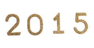 Decoración 2015 del Año Nuevo con números de oro Imágenes de archivo libres de regalías