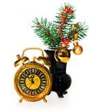 Decoración del Año Nuevo con un reloj viejo Fotos de archivo libres de regalías
