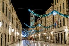 Decoración del Año Nuevo de Dubrovnik Stradun Imagen de archivo libre de regalías