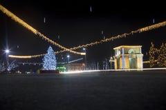 Decoración del Año Nuevo de la calle en Chisinau Imágenes de archivo libres de regalías