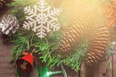 Decoración del Año Nuevo de la Navidad de ramas y de conos coníferos Tono del vintage Imágenes de archivo libres de regalías