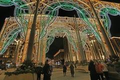 Decoración del Año Nuevo de la Navidad en Moscú, Rusia Foto de archivo libre de regalías