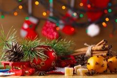 Decoración del Año Nuevo en la tabla Fotografía de archivo