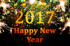 Decoración del Año Nuevo, primer en fondos de oro Foto de archivo libre de regalías