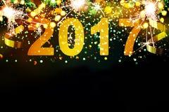 Decoración del Año Nuevo, primer en fondos de oro Fotografía de archivo